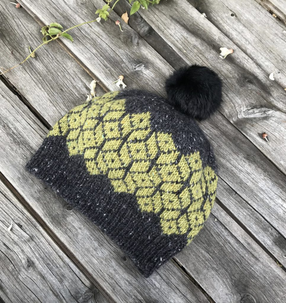 Bridge View Beanie - black and yellow colorwork hat