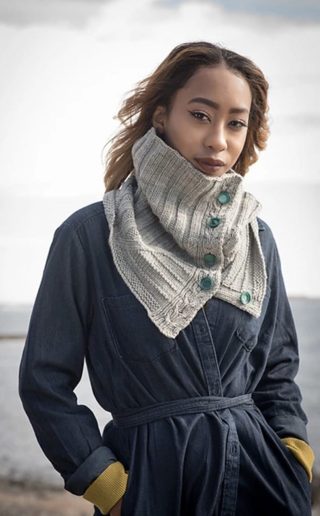 Desolation Sound E Elliott Knits (gray cowl with green buttons)