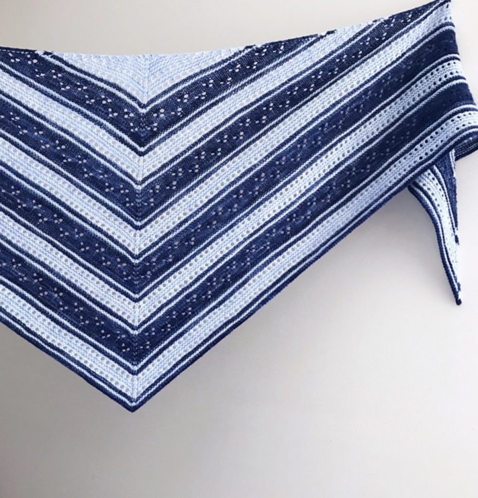 Horizon Blue and white striped lace shawl