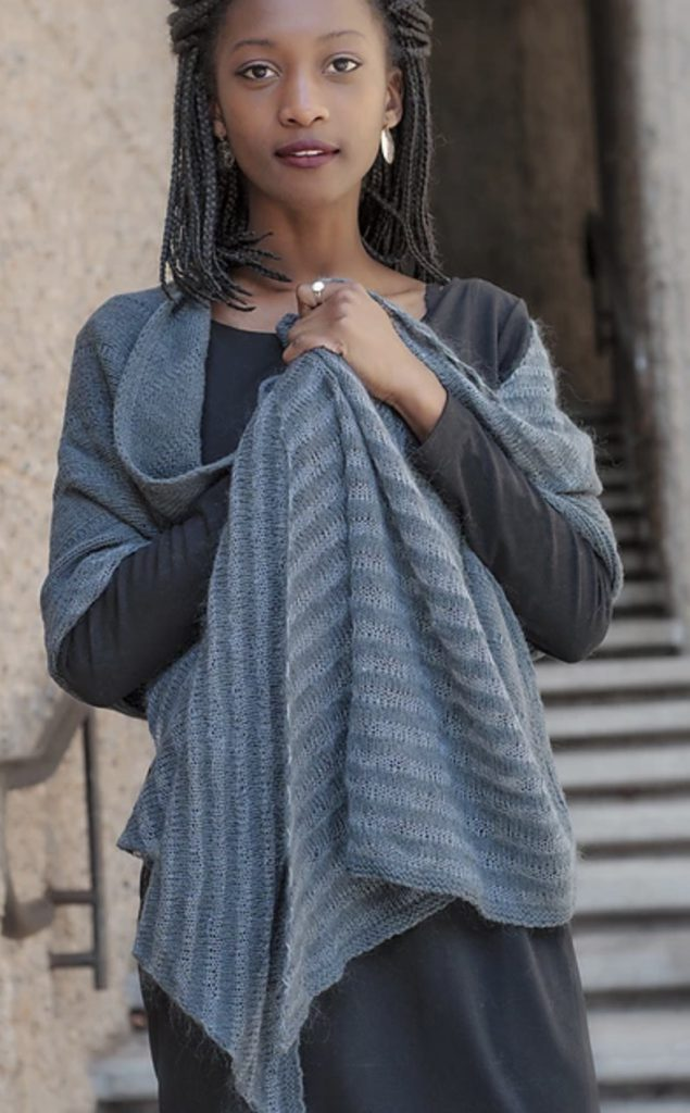 Line and Shadow E Elliott Knits (gray and blue wrap)