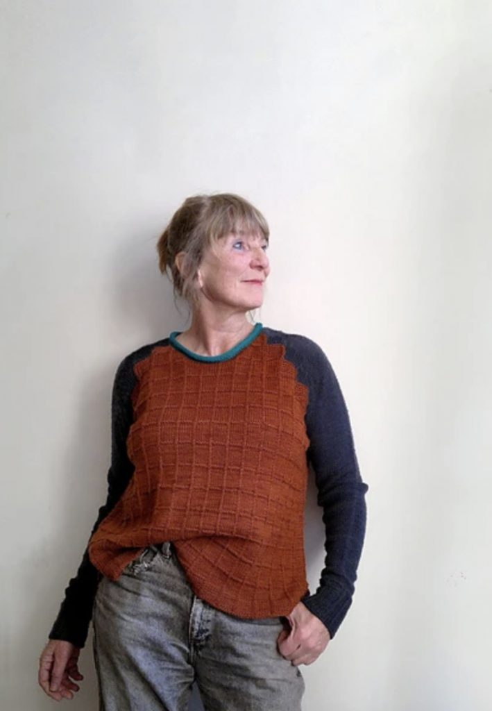 squared alfa knits navy and rust sweater