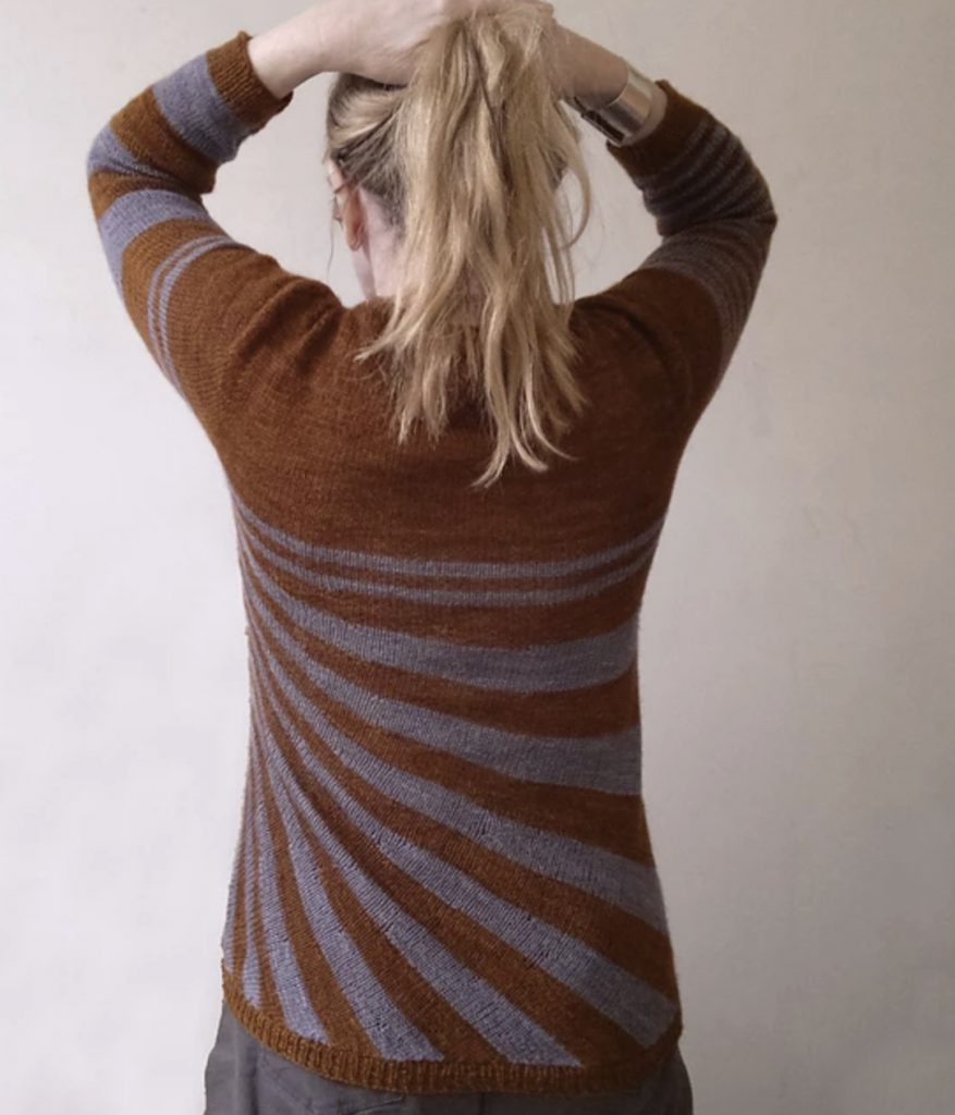 stripes gone crazy alfa knits brown and gray sweater