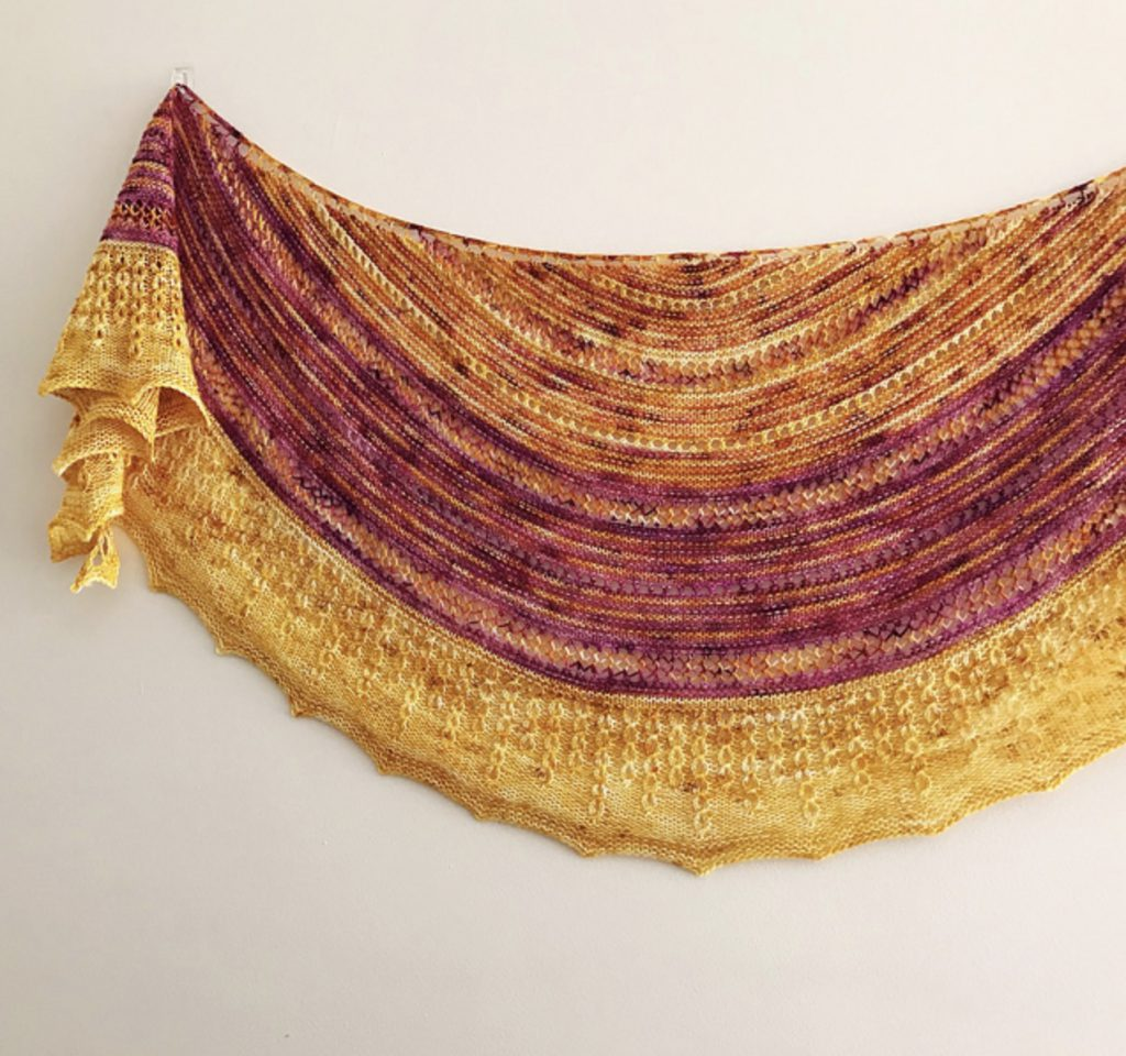 Sunshine  by Dominique Trad yellow and cranberry fingering weight shawl