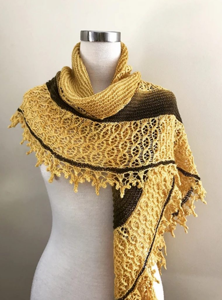 The Queen Bee yellow and brown lacy shawl