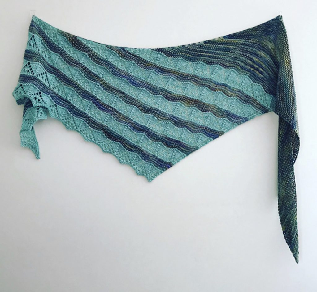 Water Wish by Dominique Trad light and dark teal shawl