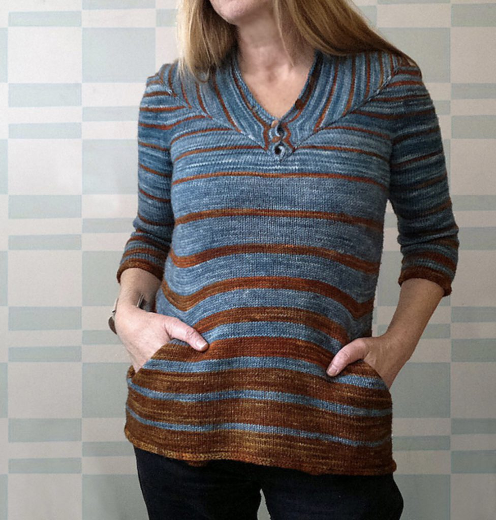 almond tee 2 alfa knits gray and brown striped sweater