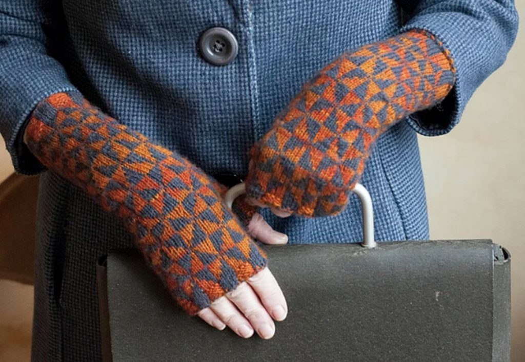 pythagoras' mitts gray and rust fingerless mitts