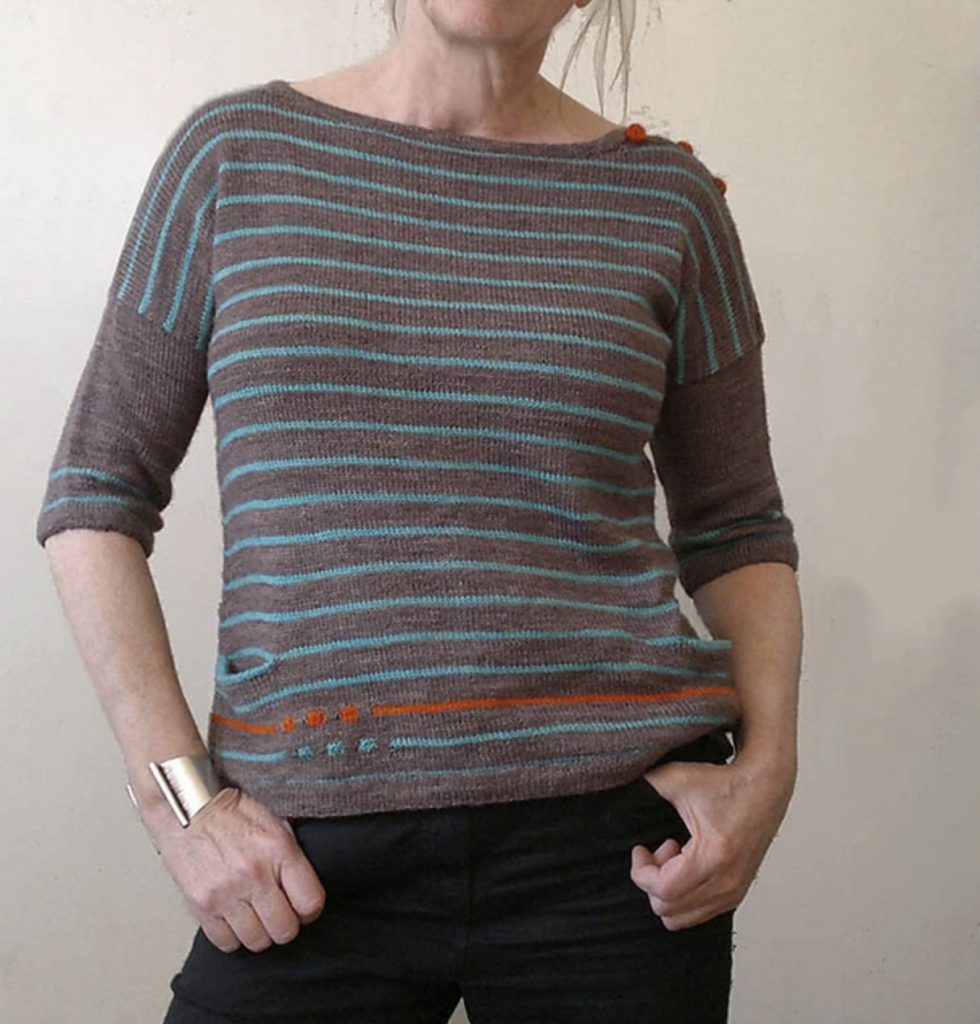 to be continued alfa knits sweater brown and blue striped sweater