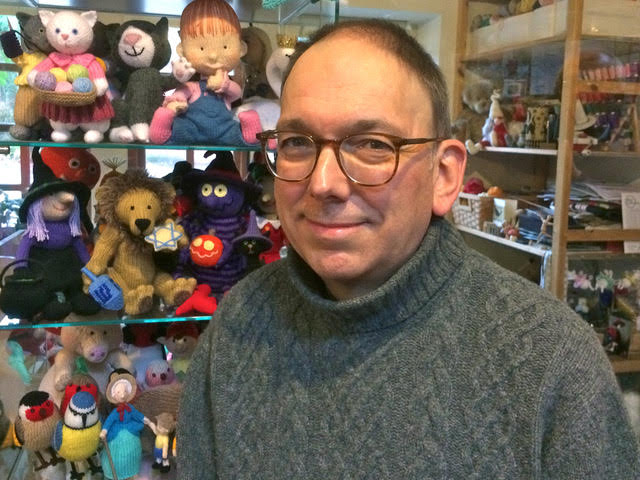A photo of knitted toy designer, Alan Dart.