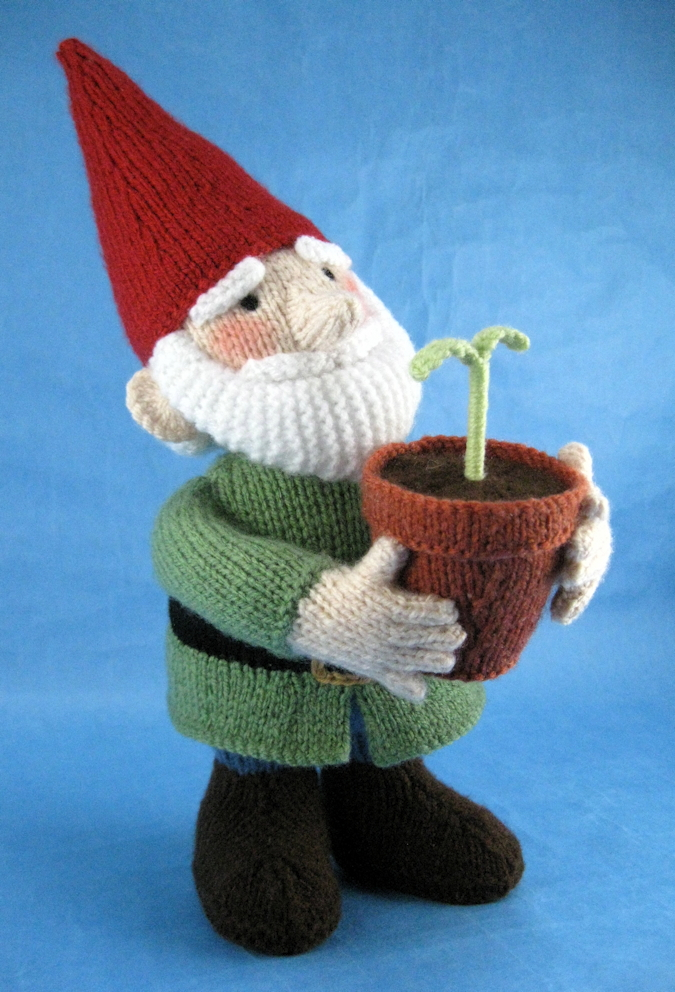 A photo of knitted Green Fingers the garden gnome