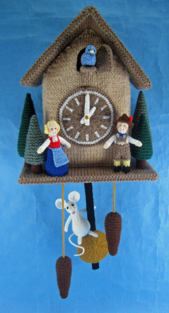 A photo of a knitted cuckoo clock