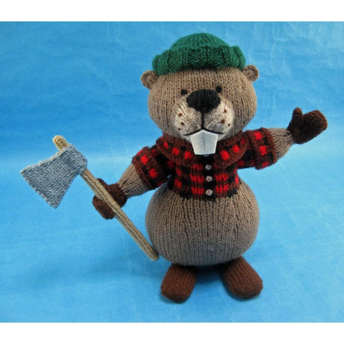 A photo of a knitted lumberjack beaver