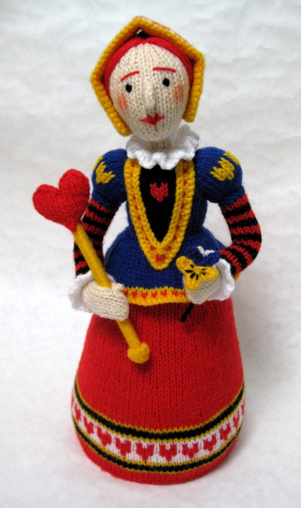 A photo of a knitted Queen of Hearts by Alan Dart