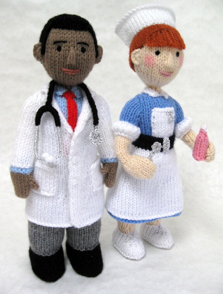 A photo of a knitted Doctor and Nurse by Alan Dart